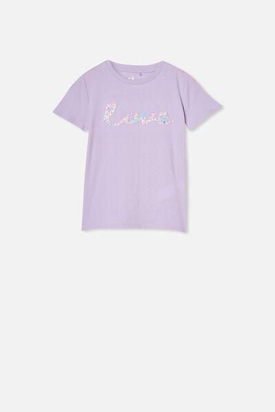 Stevie Short Sleeve Embellished Tee, VINTAGE LILAC/RAINBOW LOVE