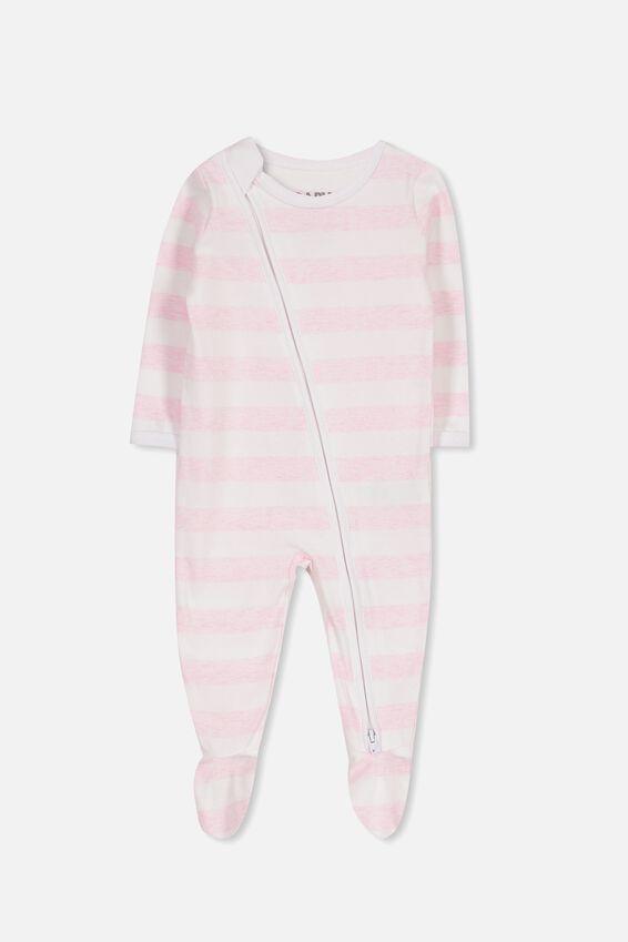Sleep Mini Zip All In One Jumpsuit, WHITE/PINK MARLE STRIPE
