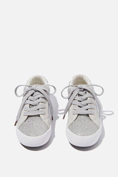 Tibi Sneaker, SILVER GREY GLITTER