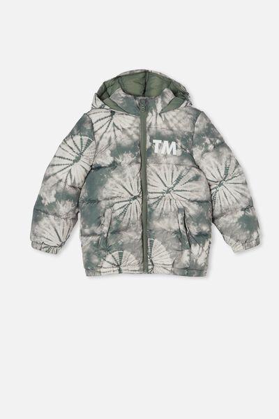 Personalised Frankie Puffer Jacket, SWAG GREEN/TIE DYE