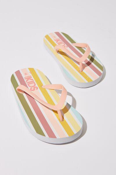 Printed Flip Flop, 70s MULTI STRIPE