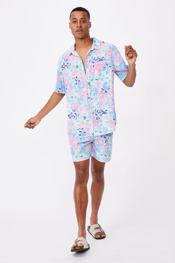 Kip&Co Mens Short Sleeve Shirt, LCN KIP PETAL POWER