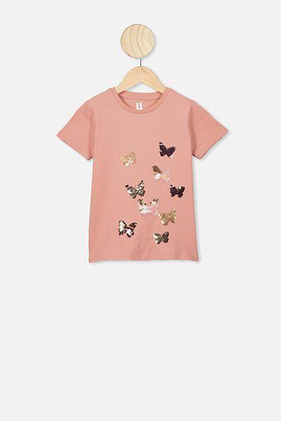 Stevie Short Sleeve Embellished Tee, MUSK ROSE/FLYAWAY BUTTERFLIES