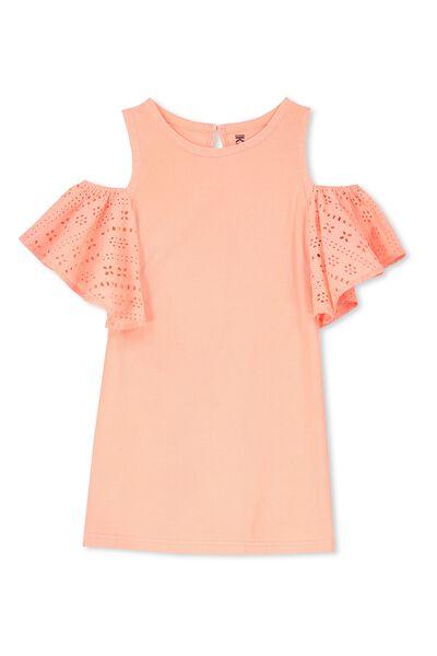 Matilda Frill Dress, FLURO CORAL