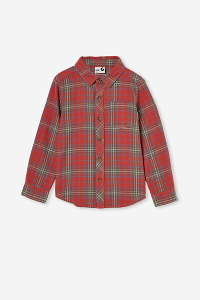 Rugged Long Sleeve Shirt, RED BRICK PLAID