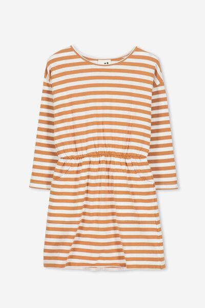 Mara Long Sleeve Dress, SUNBURN/VANILLA STRIPE
