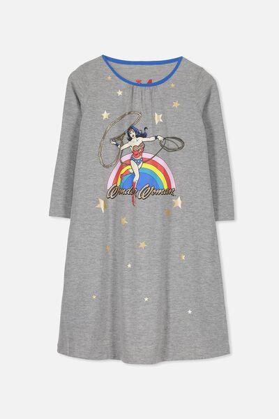 Laura Long Sleeve Long Nightie, LCN WONDERWOMAN RAINBOW