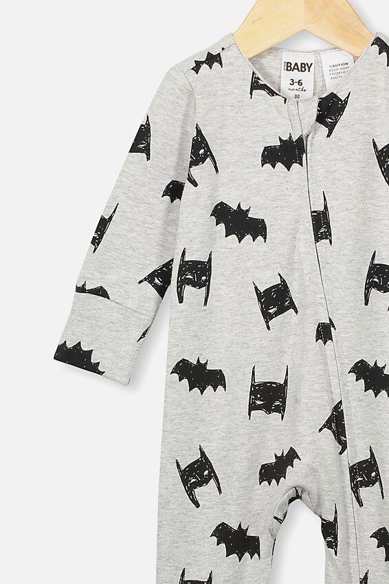 The Long Sleeve Zip Romper, LCN WB CLOUD MARLE BATMAN