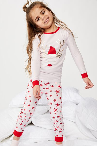 Ruby Long Sleeve Girls Pyjamas, XMAS REINDEER STAR