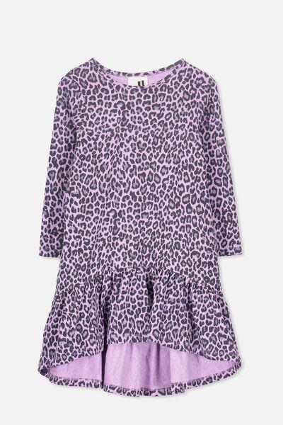 Joss Long Sleeve Dress, SWEET LILAC/LEOPARD