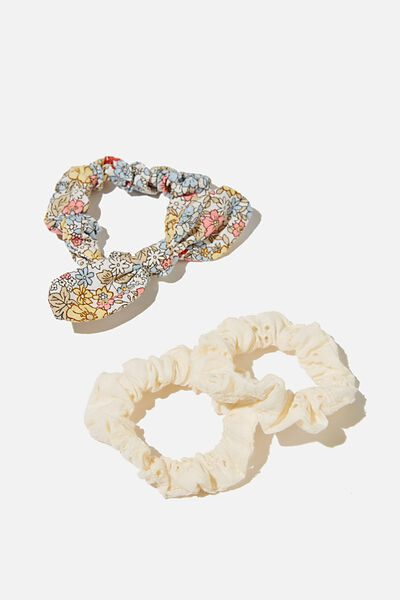 Mini Scrunchies - Broderie, WHITE FLORAL BROIDERIE