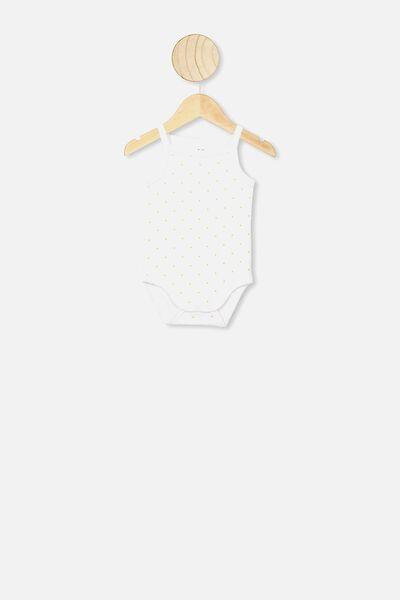 Picot Trim Singlet Bubbysuit, BETTY SPOT WHITE/VINTAGE HONEY