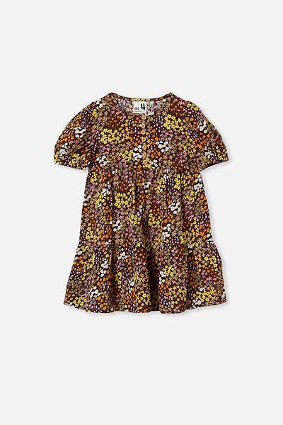 Meredith Short Sleeve Dress, PHANTOM/FLORAL FIELDS