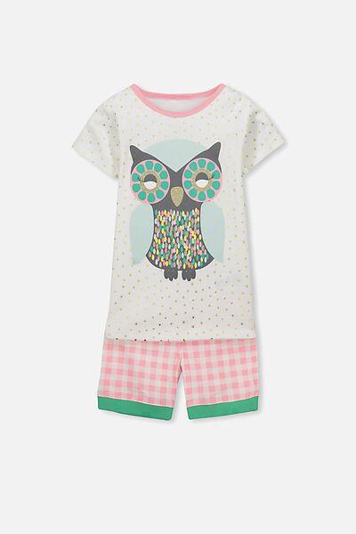 Chloe Short Sleeve Girls Pj Set, GLITTER OWL