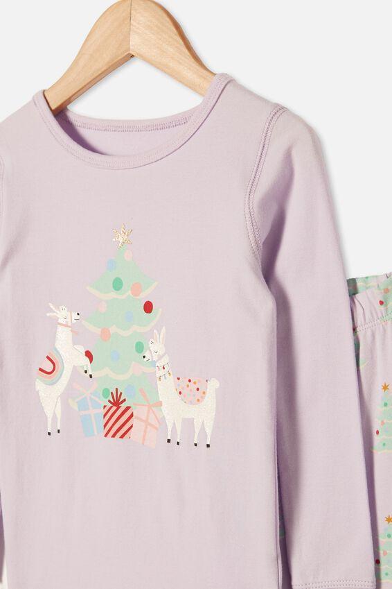Lila Long Sleeve Pajama Set, CHRISTMAS LLAMA VINTAGE LILAC