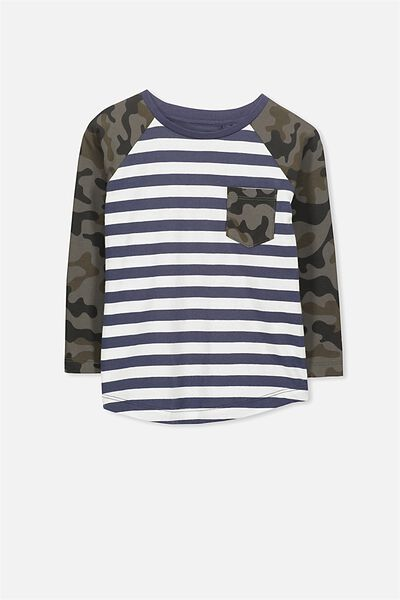 Tom Long Sleeve Tee, CAMO STRIPE/RAGLAN
