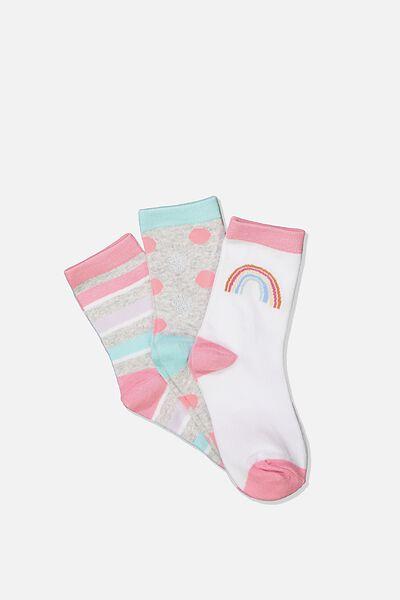 Kids 3Pk Crew Sock, SWEET BLUSH RAINBOW