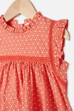 Tess Flutter Sleeve Dress, RED ORANGE/VANILLA POLLY FLORAL