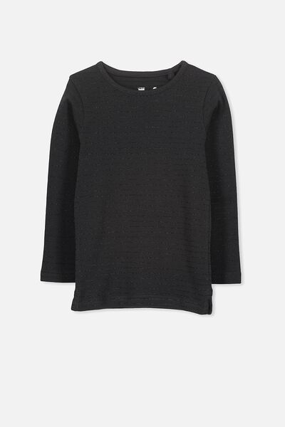 Jessie Crew Long Sleeve Tee, PHANTOM/BLACK STRIPE