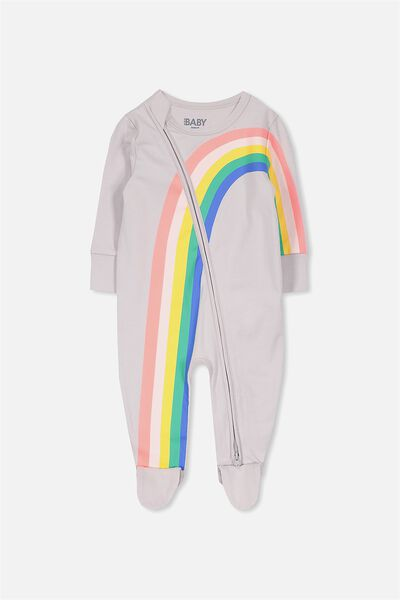Mini Zip Through Romper, WINDCHIME/RAINBOW