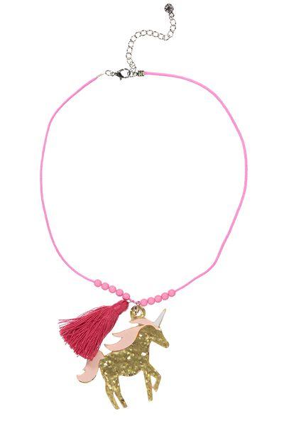 Animal Charm Necklace, UNICORN AZALEA PINK