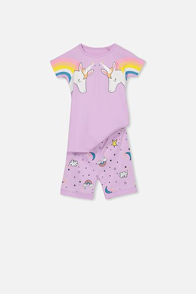 Lexi Girls Short Sleeve PJ Set, UNICORN DREAMS