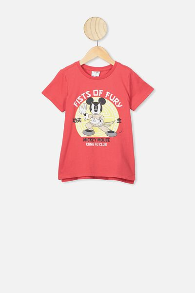 Short Sleeve License1 Tee, LCN DIS RED/FIST OF FURY MICKEY