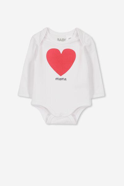 Mini Long Sleeve Bubby, WHITE/LOLLIPOP HEART MAMA