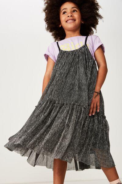Iggy Dress Up Dress, BLACK/SILVER