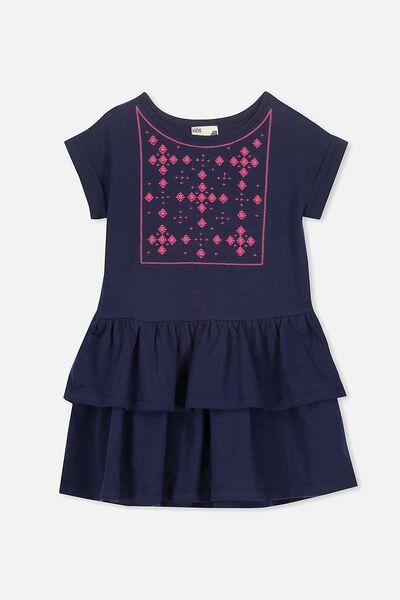 Alba Short Sleeve Dress, PEACOAT SLUB/EMB