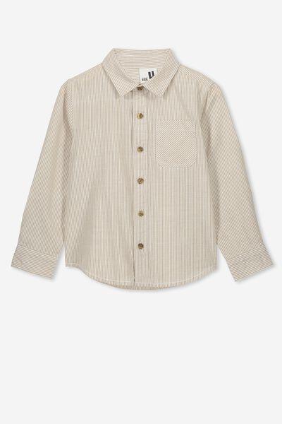 Prep Long Sleeve Shirt, NATURAL VANILLA STRIPE