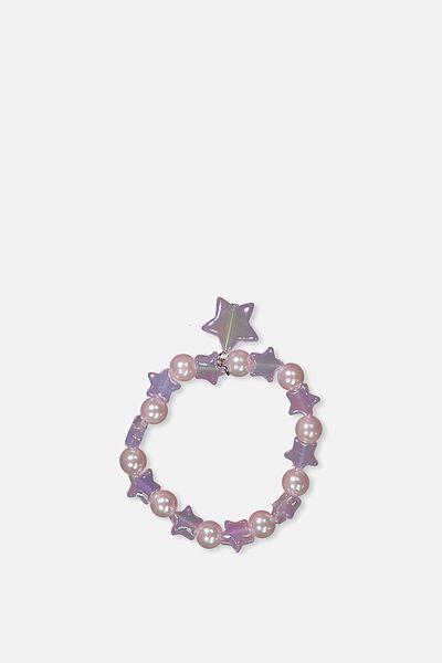 Glitter Charm Bracelet, LILAC/STAR