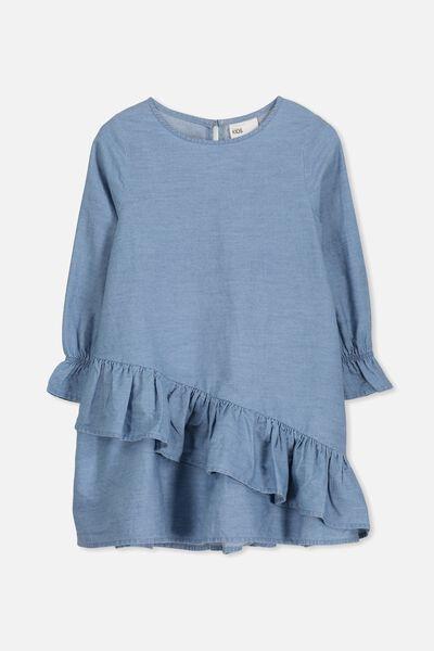 Hannah Long Sleeve Dress, LIGHT BLUE WASH
