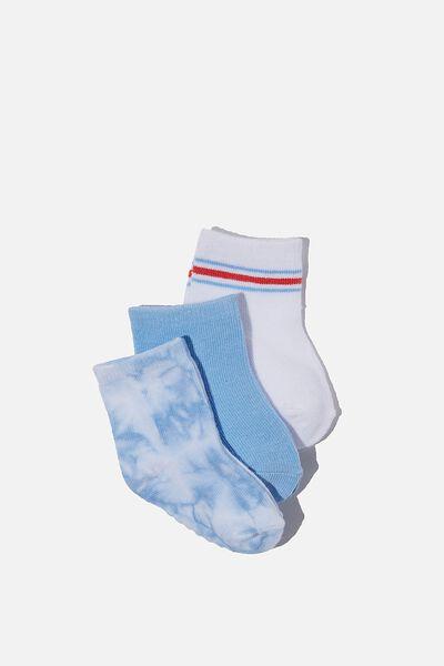 3Pk Baby Socks, BLUE TIE DYE