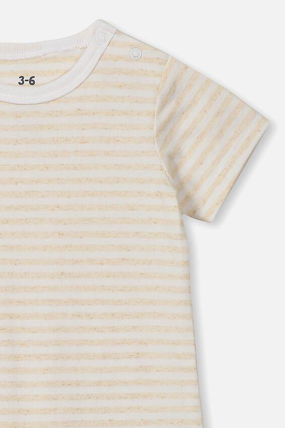 The Short Sleeve Romper, CHRIS STRIPE CARAMEL MARLE/WHITE