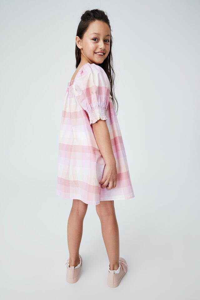 Lana Short Sleeve Dress, MELON CHECK