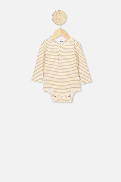 Ls Button Bubbysuit, SALLA STRIPE DARK VANILLA/VINTAGE HONEY