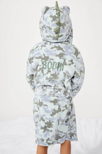Boys Long Sleeve Gown - Personalised, DINO CAMO- PERSONALISED