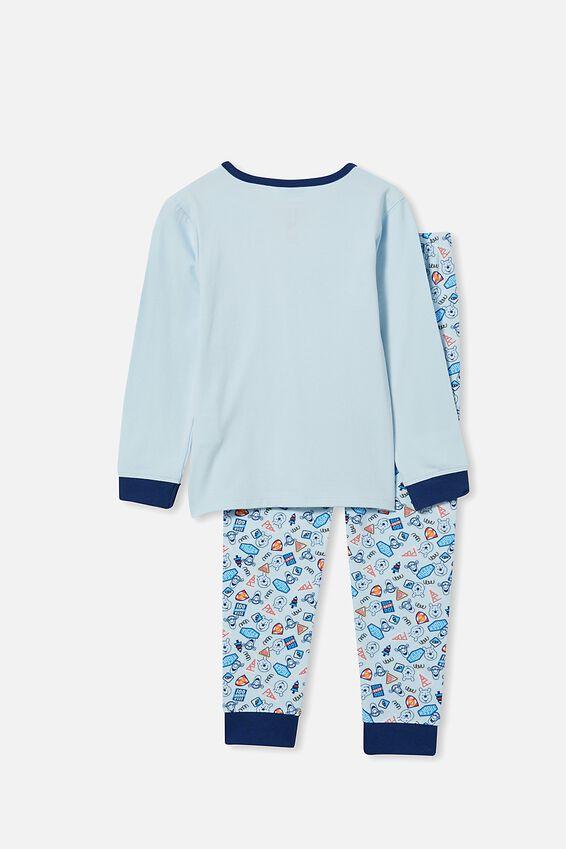 Winnie the Pooh Orlando Long Sleeve Pyjama Set, LCN DIS WINNIE THE POOH/FROSTY BLUE
