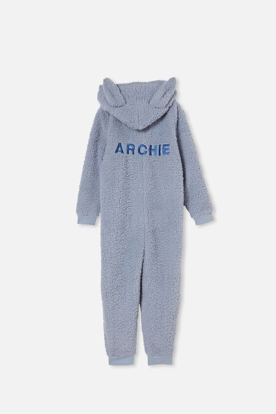 Boys All-In-One Onesie Teddy Fleece Personalised, DUSTY BLUE