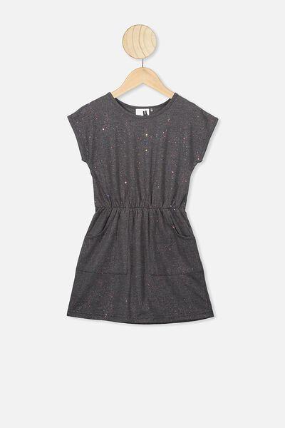 Sigrid Short Sleeve Dress, CHARCOAL MARLE/RAINBOW SPARKLE