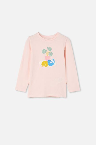 Penelope Long Sleeve Tee, PINK QUARTZ/PLANT CATS