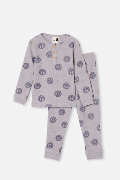 Ryan Waffle Long Sleeve Pyjama Set, SMILEY FACE SUMMER GREY MARLE