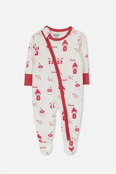 Sleep Mini Zip All In One Jumpsuit, VANILLA/KAWAII