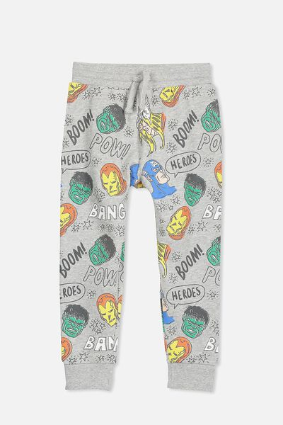 License Slouch Trackpant, LT GREY/AVENGERS HEADS