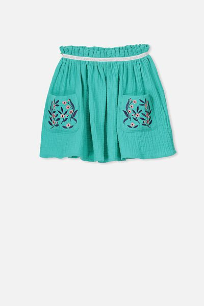 Serina Skirt, POOL GREEN/FLORAL POCKET