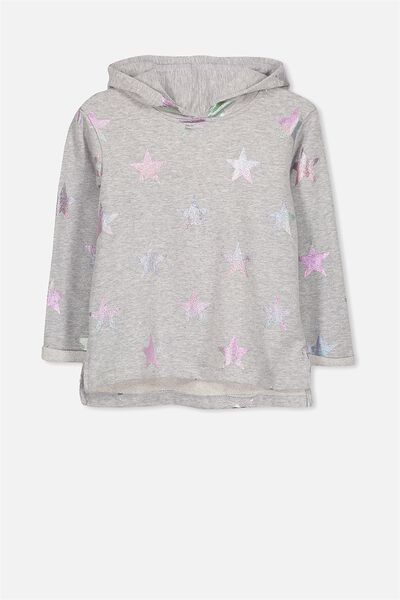 Scarlett Set In Sleeve Longer Line, LIGHT GREY MARLE/RAINBOW STARS