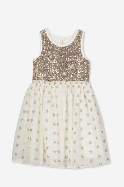 Iris Tulle Dress, CREAM/SPARKLE STARS
