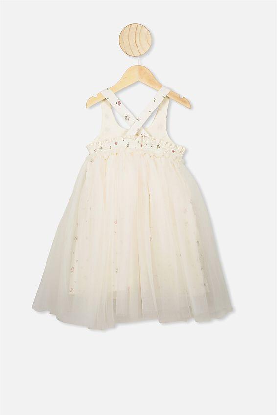 Iris Tulle Dress, DARK VANILLA/FLORAL FIELDS MINI