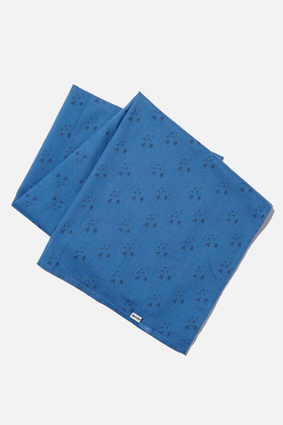 Organic Muslin Blanket, PETTY BLUE/FOREST